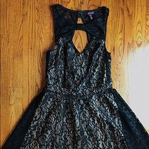 Black lace with cream underlay dress